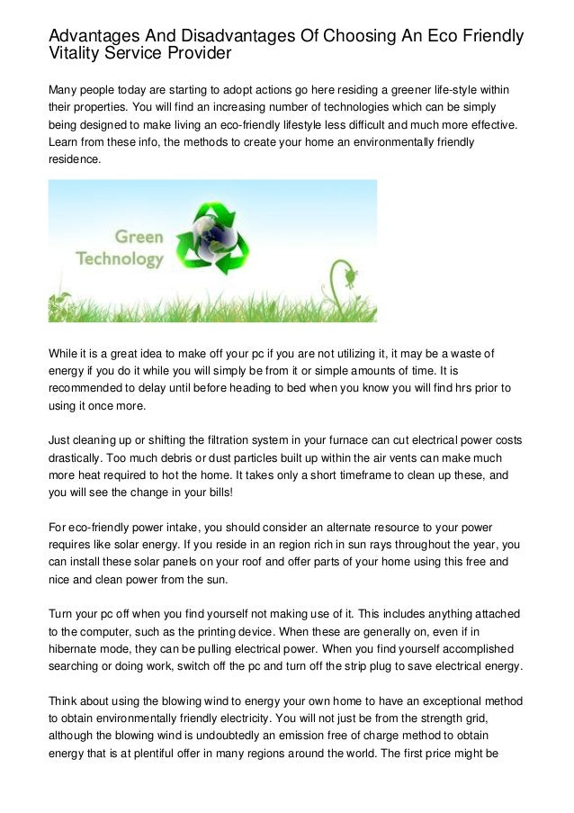 advantages and disadvantages of choosing an eco friendly