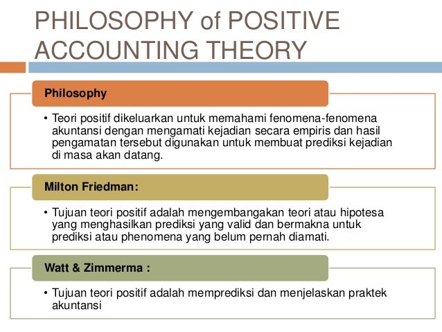 "a positive theory of accounting For example, positive accounting theory seeks to explain why firms continue to use historical cost accounting and why certain firms switch between a numbers of accounting techniques • ""prediction"" of accounting practice means that the theory predicts ""unobserved phenomena""."