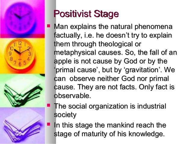Positivist StagePositivist Stage  Man explains the natural phenomenaMan explains the natural phenomena factually, i.e. he...