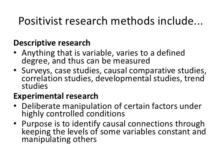 exploring research methodologies positivism and interpretivism Explanation of three research paradigms-positivism, realism realism states that reality could be understood through natural science methods, and interpretivism understands how people create and interpretivism upholds that a research strategy for the social sciences have to.