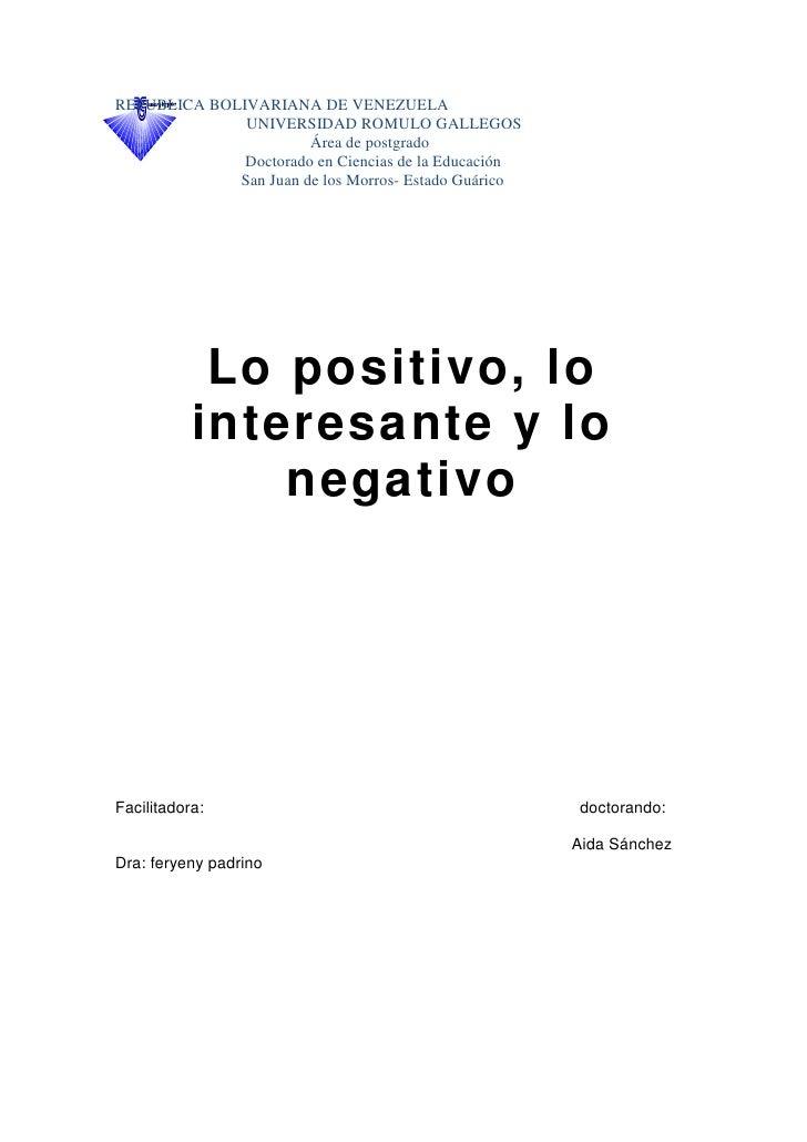 Positivo   Interesante  Negativo