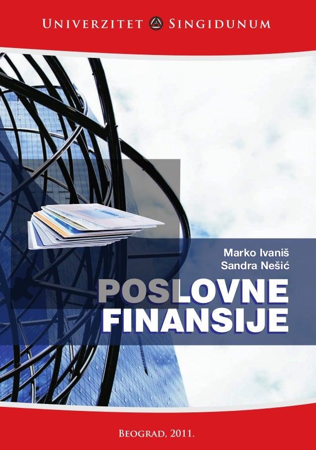 FINANSIJE                                     POSLOVNE                      Marko Ivaniš                      Sandra Nešiæ...