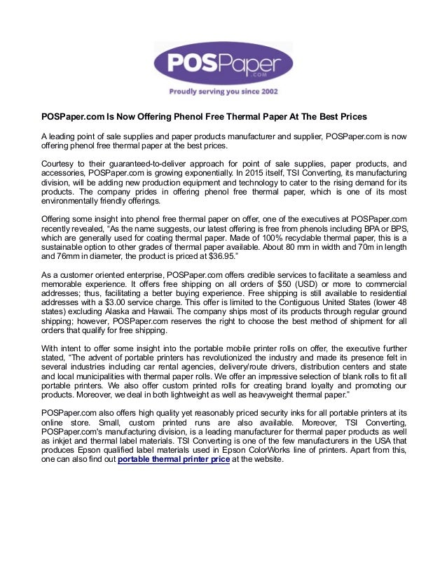 POSPaper com Is Now Offering Phenol Free Thermal Paper At The Best Pr…