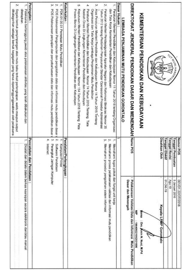 POS Pelaksanaan Validasi Data dan Informasi Mutu Pendidikan Dasar dan Menengah