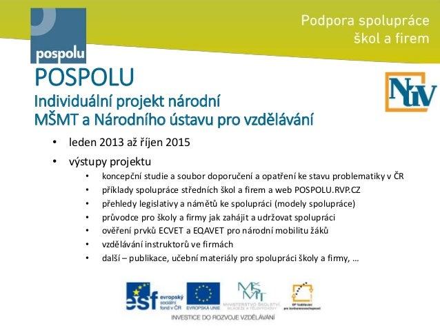 POSPOLU Individuální projekt národní MŠMT a Národního ústavu pro vzdělávání • leden 2013 až říjen 2015 • výstupy projektu ...