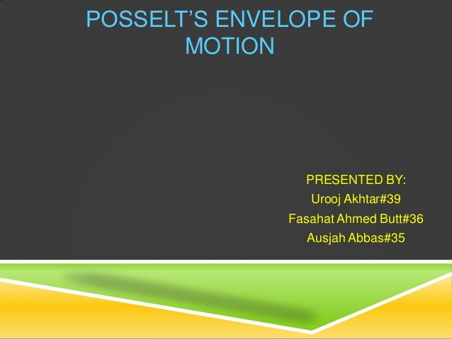 POSSELT'S ENVELOPE OFMOTIONPRESENTED BY:Urooj Akhtar#39Fasahat Ahmed Butt#36Ausjah Abbas#35