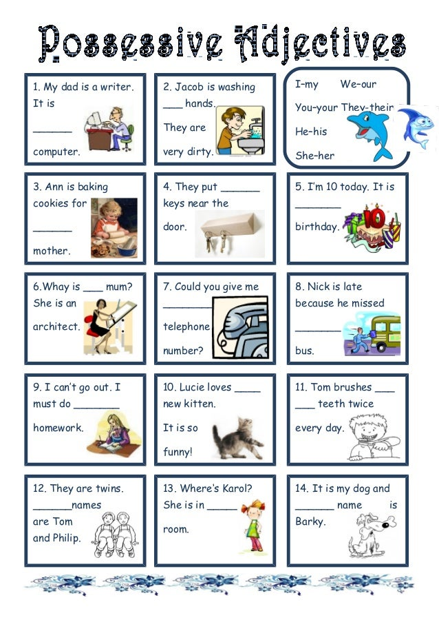 Printable Worksheets possessive adjective worksheets : BASIC ENGLISH I: Possessive Adjectives