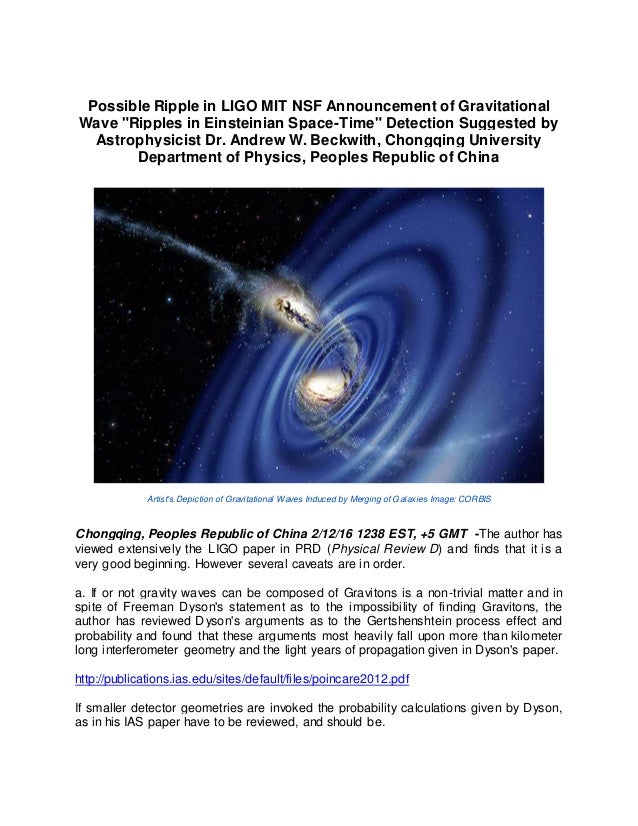 "Possible Ripple in LIGO MIT NSF Announcement of Gravitational Wave ""Ripples in Einsteinian Space-Time"" Detection Suggested..."
