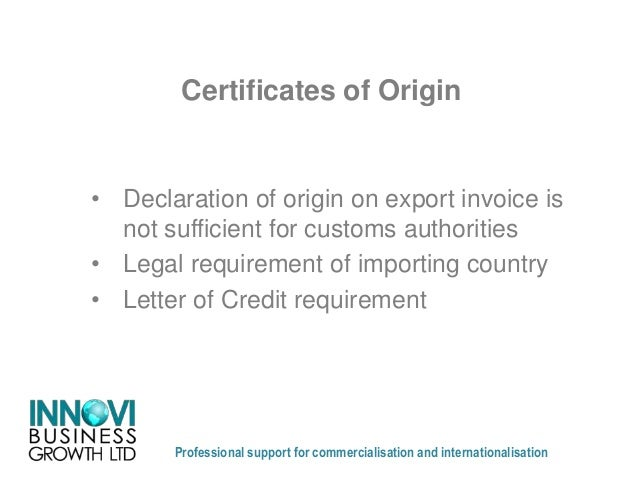Anne Murphy   Working With Agents And Distributors For International Trade  Country Of Origin Letter