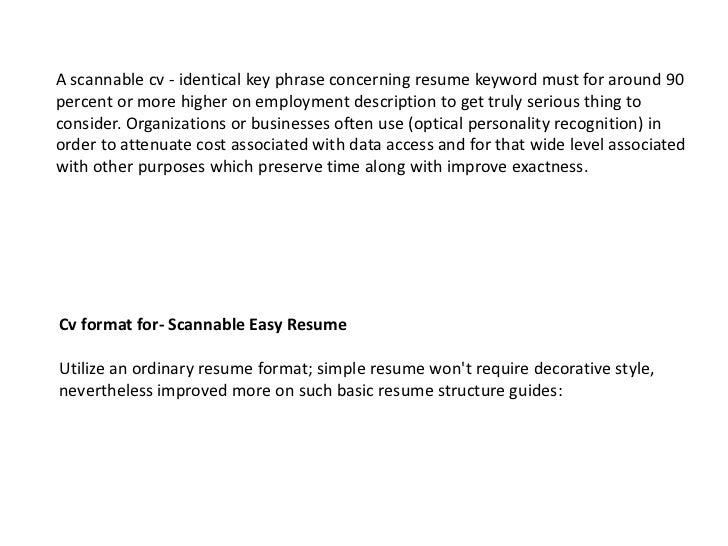 possible keywords scannable easy resume