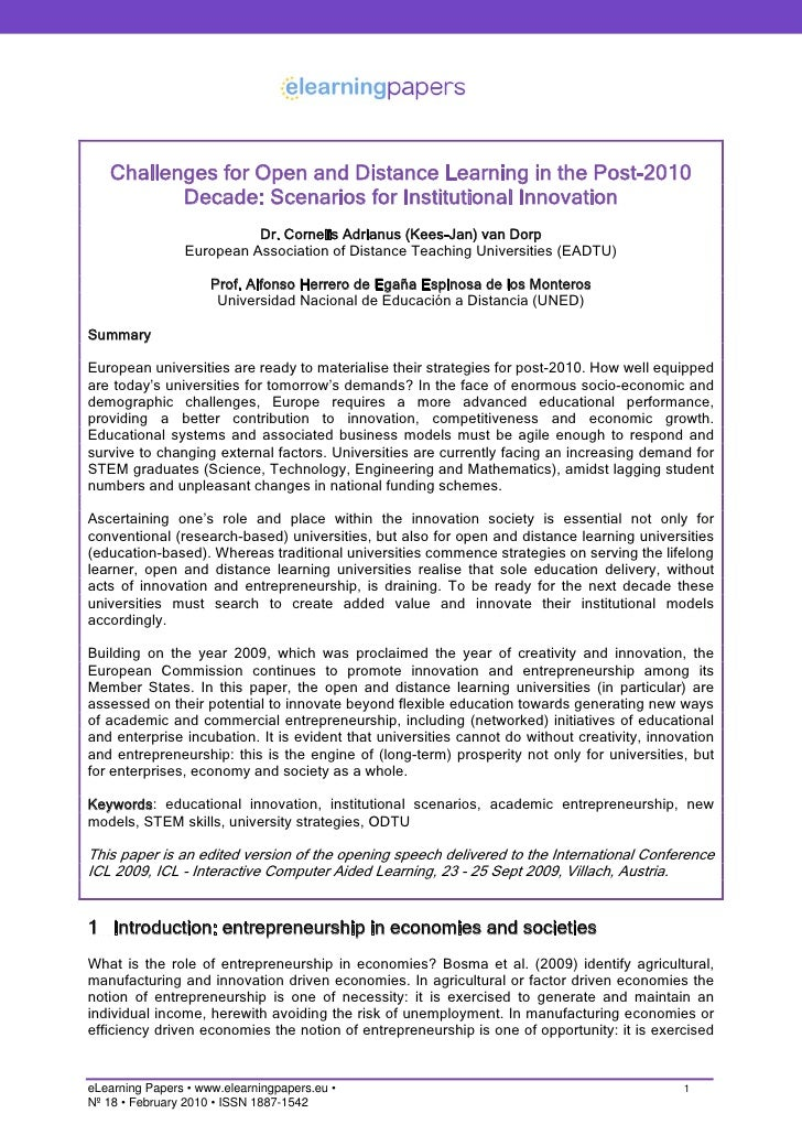 Challenges for Open and Distance Learning in the Post-2010           Decade: Scenarios for Institutional Innovation       ...