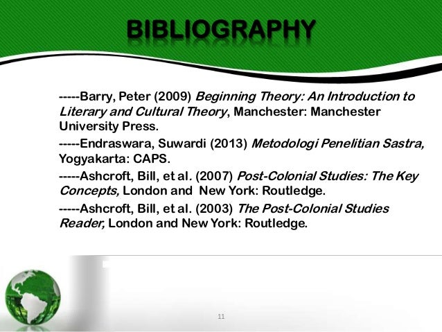 BIBLIOGRAPHY -----Barry, Peter (2009) Beginning Theory: An Introduction to Literary and Cultural Theory, Manchester: Manch...