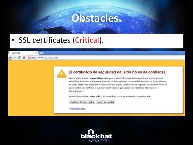 • SSL certificates (Critical). Obstacles.