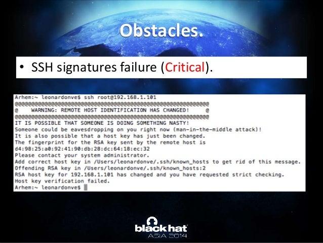 • SSH signatures failure (Critical). Obstacles.