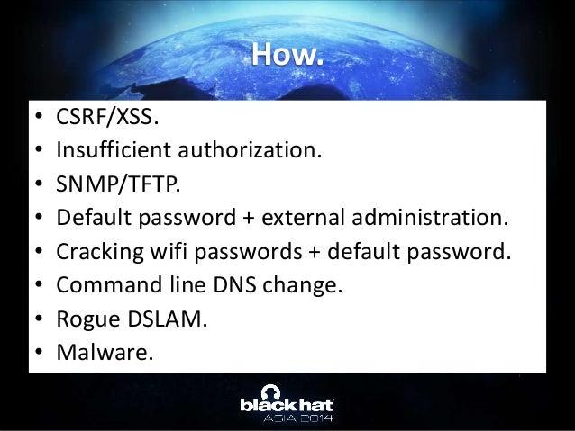 • CSRF/XSS. • Insufficient authorization. • SNMP/TFTP. • Default password + external administration. • Cracking wifi passw...