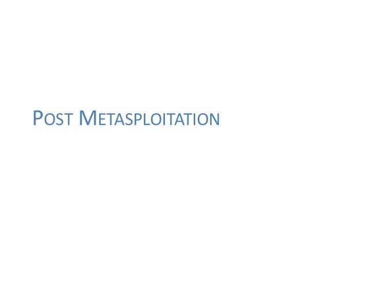 POST METASPLOITATION