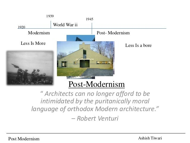 "Post Modernism Ashish Tiwari World War ii Modernism Post-Modernism "" Architects can no longer afford to be intimidated by ..."