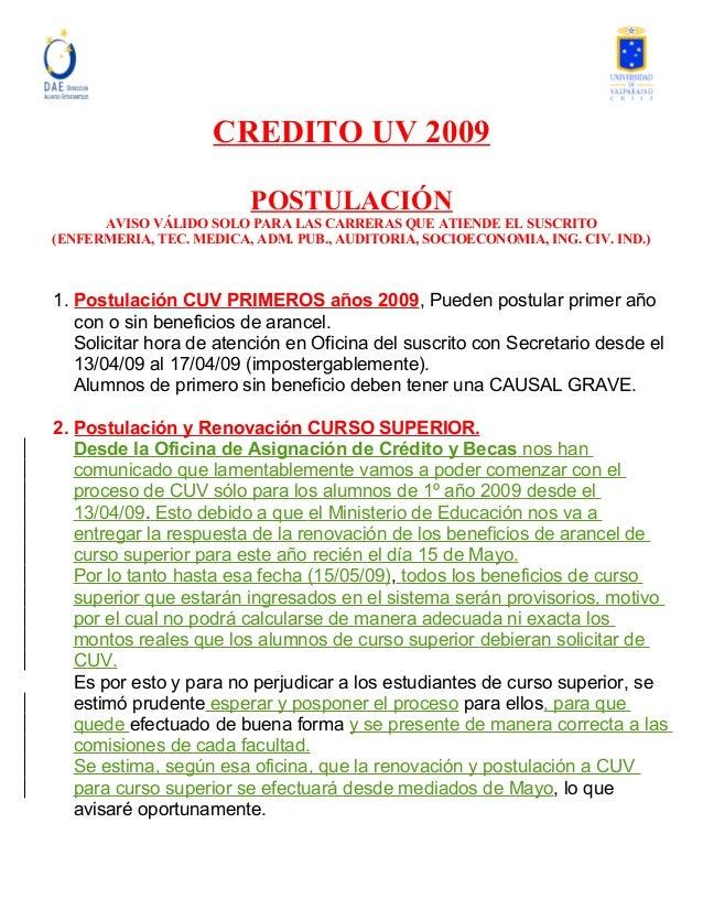 CREDITO UV 2009 POSTULACIÓN AVISO VÁLIDO SOLO PARA LAS CARRERAS QUE ATIENDE EL SUSCRITO (ENFERMERIA, TEC. MEDICA, ADM. PUB...
