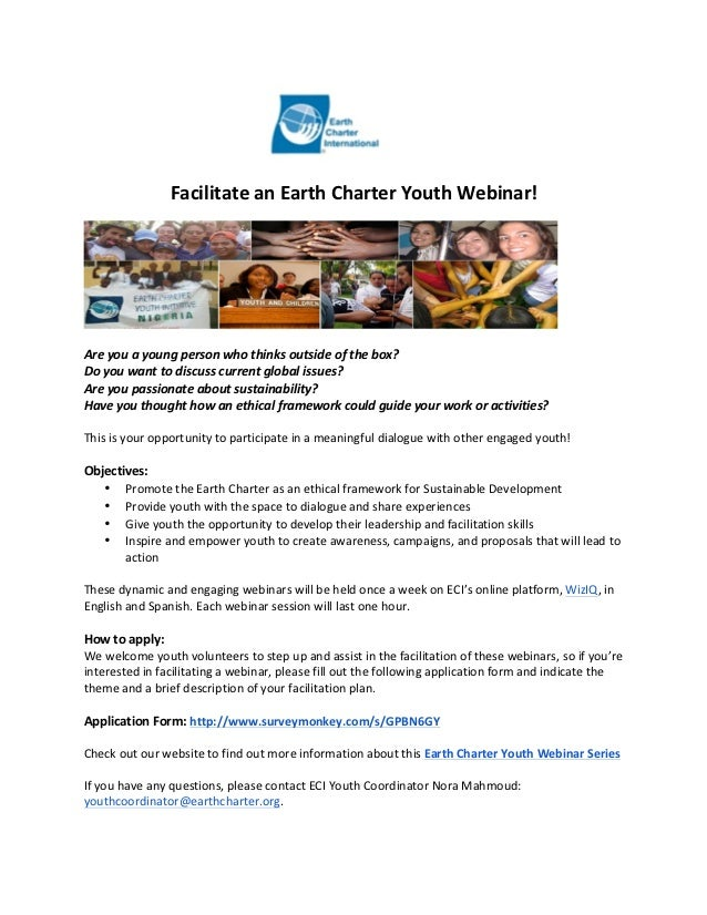 Facilitate an Earth Charter Youth Webinar!   Are you a young person who thinks outside of...