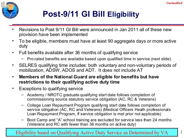 learned february 2013unclassified 2 unclassified post 911 gi bill eligibility