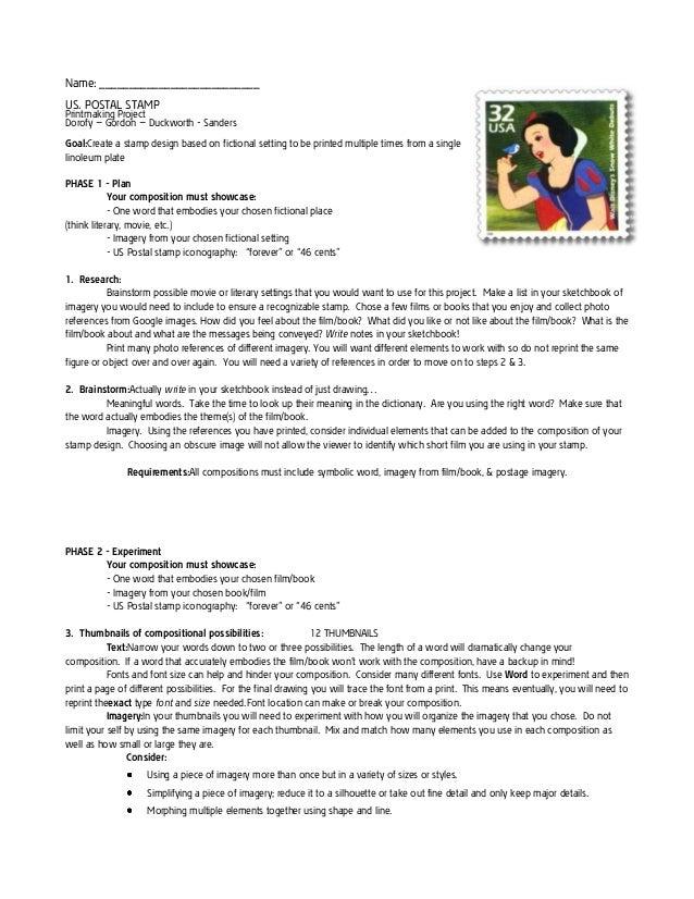 Name: ___________________________ US. POSTAL STAMP  Printmaking Project Dorofy – Gordon – Duckworth - Sanders Goal:Create ...