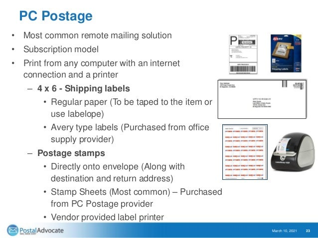 Cloud-Based Enterprise Options – PC Postage Enterprise PC Postage is the same as standard PC Postage with the main differe...