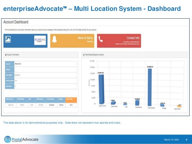 enterpriseAdvocate™ – Multi Location System - Dashboard March 10, 2021 9 Highlights • Simple access to all mail spends. • ...