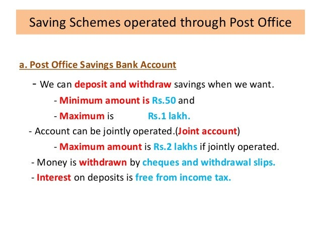 Postal and courier services - Post office joint account ...