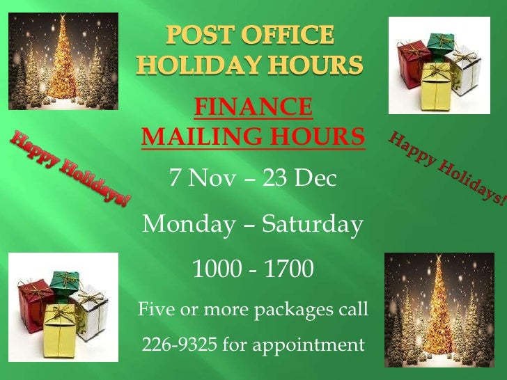 Misawa Post Office Holiday Schedule