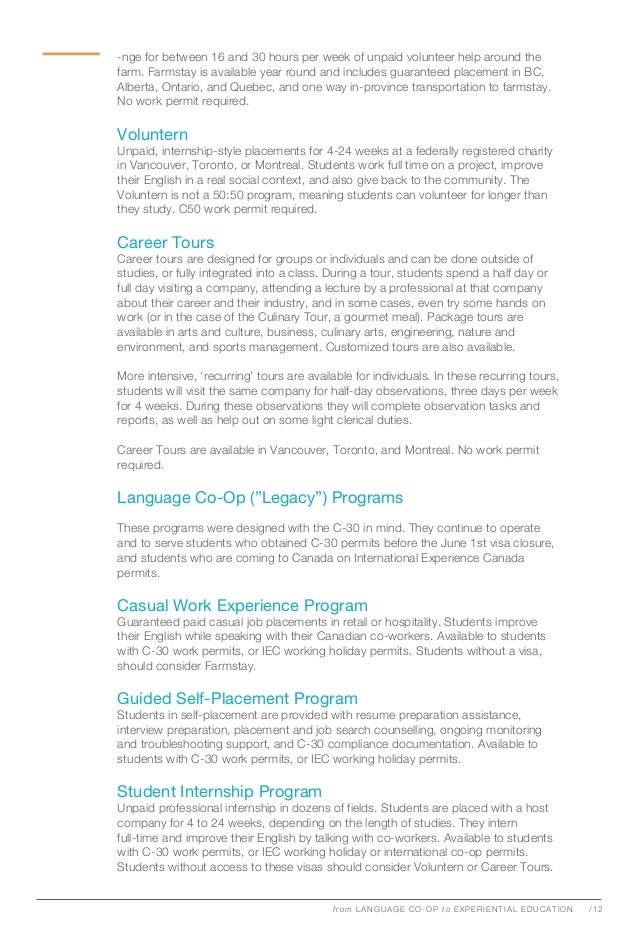 Experience Education Report on Post-C30 Coop Programs for Language Sc…