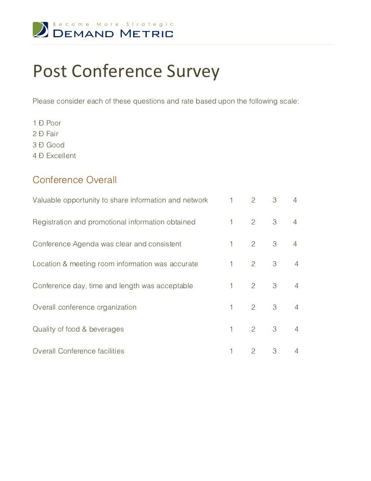 Post Conference SurveyPlease Consider Each Of These Questions And Rate Based Upon The Following Scale
