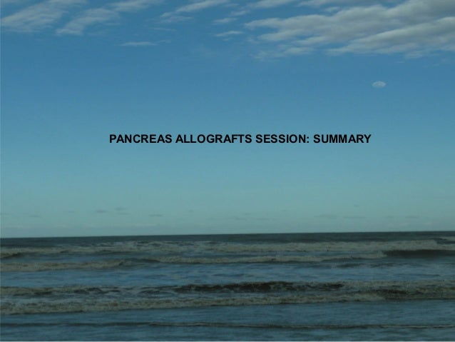 of PANCREAS ALLOGRAFTS SESSION: SUMMARY