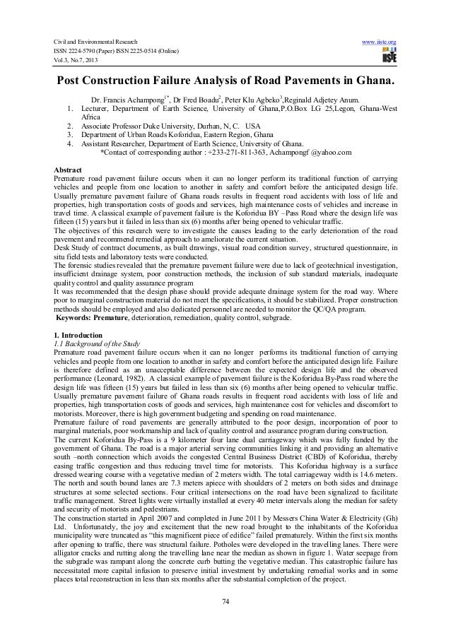 Civil and Environmental Research www.iiste.org ISSN 2224-5790 (Paper) ISSN 2225-0514 (Online) Vol.3, No.7, 2013 74 Post Co...