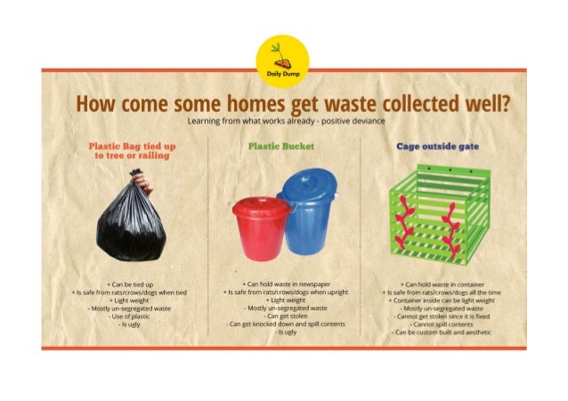 gl 3:.   Daily Dump  How come some homes get waste collected well?   Plastic Bag tied up to tree or railing     + Can be t...