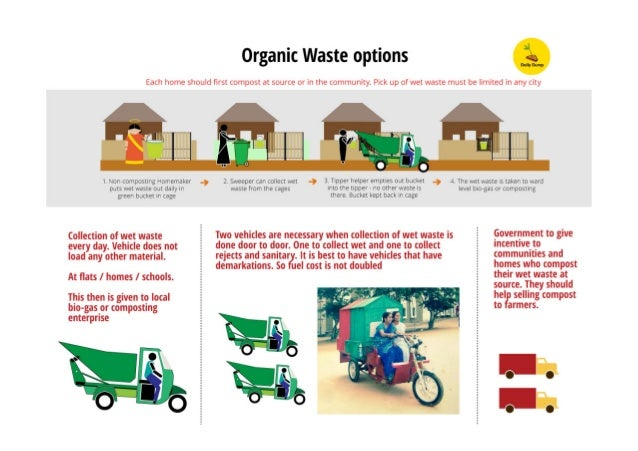 Organic Waste options  Each home should first compost at source or lfl the community.  Pick up of wet waste must be limited...