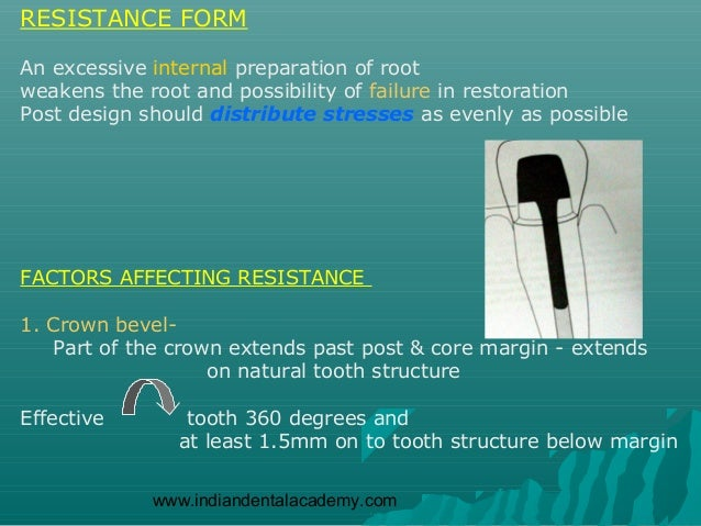 RESISTANCE FORMAn excessive internal preparation of rootweakens the root and possibility of failure in restorationPost des...