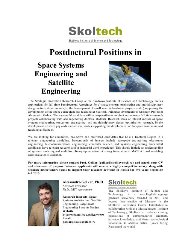 Postdoctoral Positions in Space Systems Engineering and Satellite Engineering The Strategic Innovation Research Group at t...