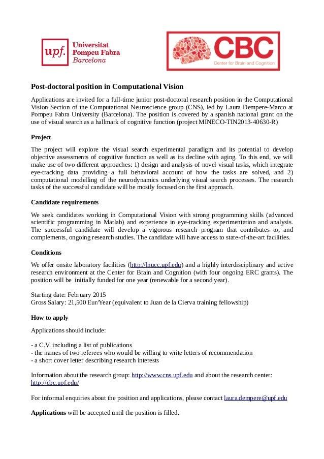 Postdoc Position in Computational Vision
