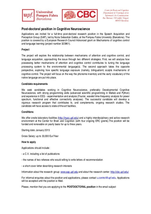 Post-doctoral position in Cognitive Neuroscience