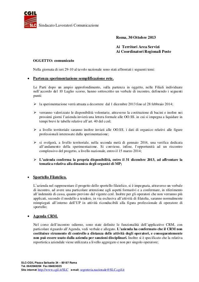Sindacato Lavoratori Comunicazione Roma, 30 Ottobre 2013 Ai Territori Area Servizi Ai Coordinatori Regionali Poste OGGETTO...