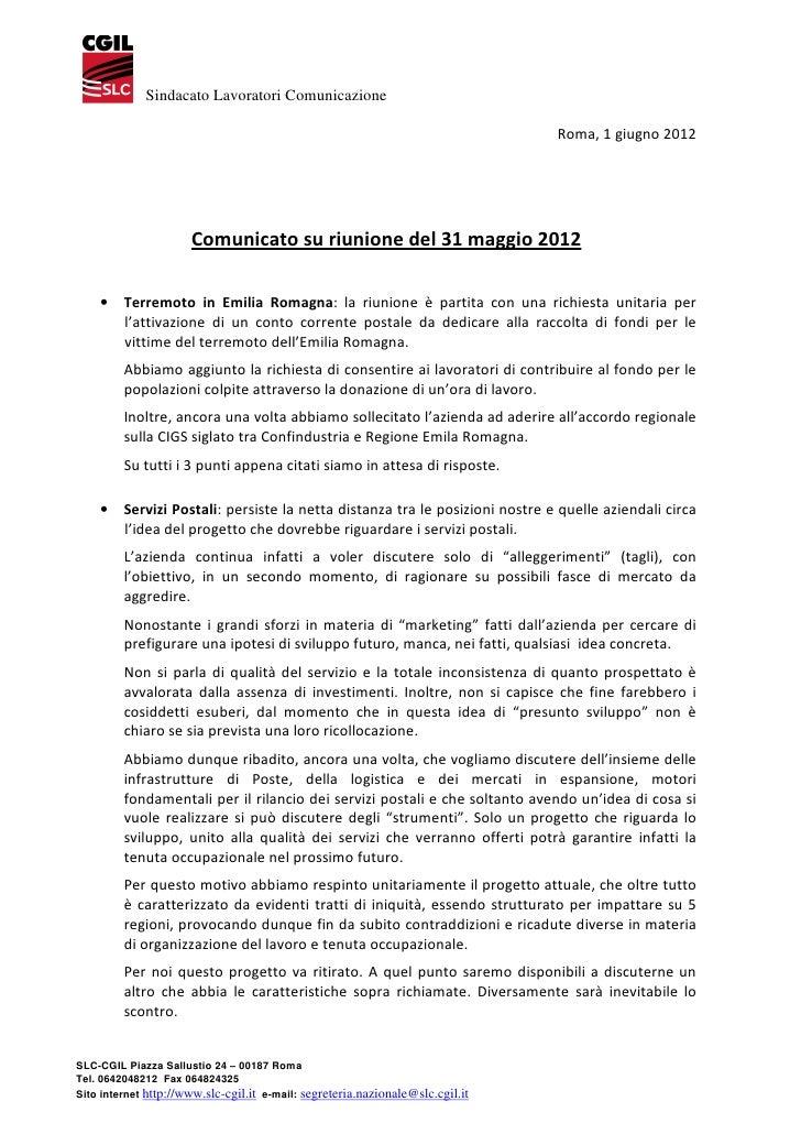 Sindacato Lavoratori Comunicazione                                                                                Roma, 1 ...