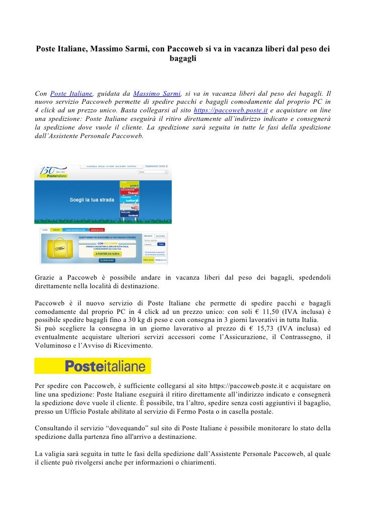 Paccoweb Con Poste Italiane Si Va In Vacanza Liberi Dal Peso Dei Ba