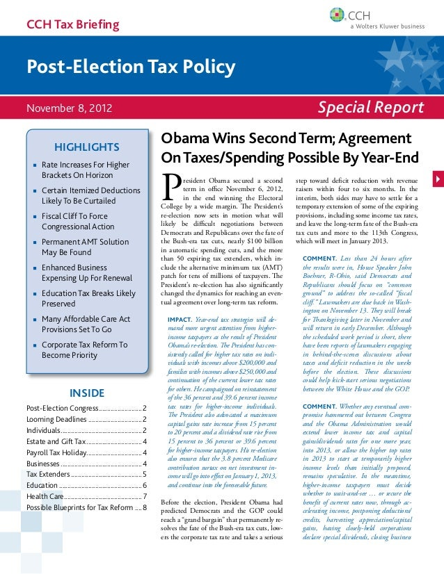 CCH Tax BriefingPost-Election Tax PolicyNovember 8, 2012                                                                  ...
