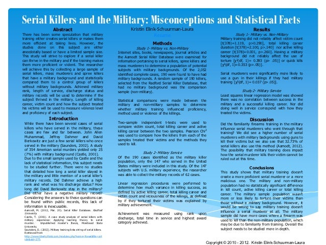 Serial Killers and the Military: Misconceptions and Statistical Facts                          Abstract                   ...