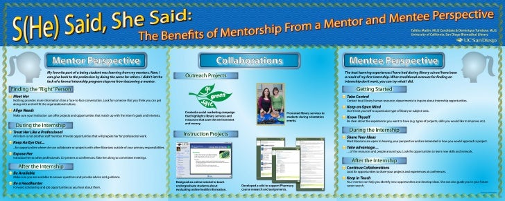 (S)He said, She said: the benefits of mentorship from a mentor and mentee perspective