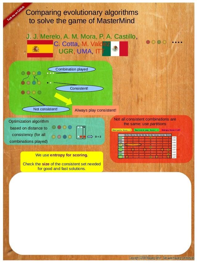 Comparing evolutionary algorithms to solve the game of MasterMind J. J. Merelo, A. M. Mora, P. A. Castillo, C. Cotta, M. V...