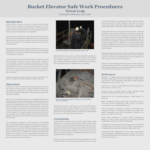 Bucket Elevator Safe Work Procedures Teresa Long University of Houston-Clear Lake An off-track condition exacerbates the p...
