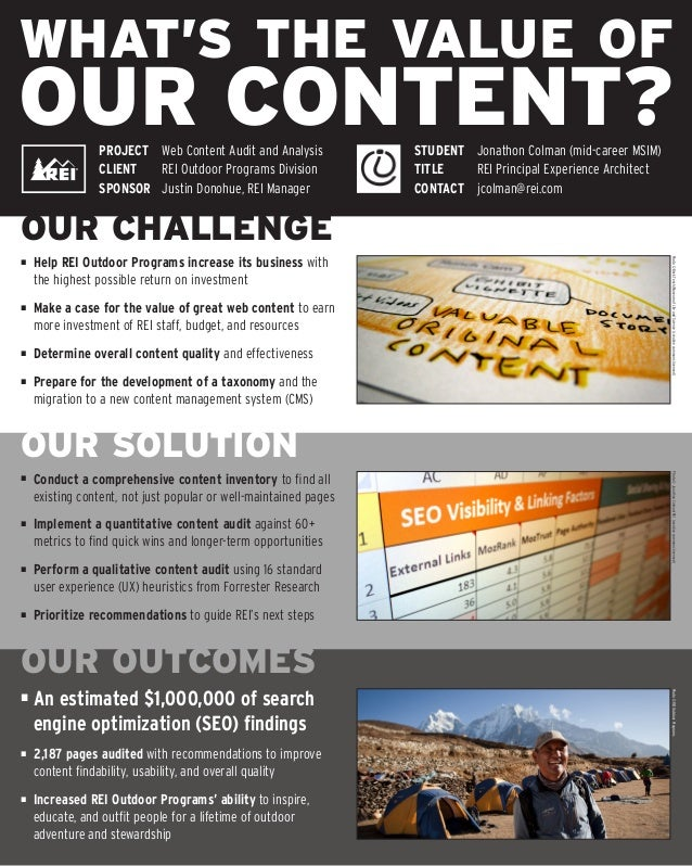 WHAT'S THE VALUE OFOUR CONTENT?OUR CHALLENGEOUR SOLUTIONOUR OUTCOMES■	 Help REI Outdoor Programs increase its business wit...