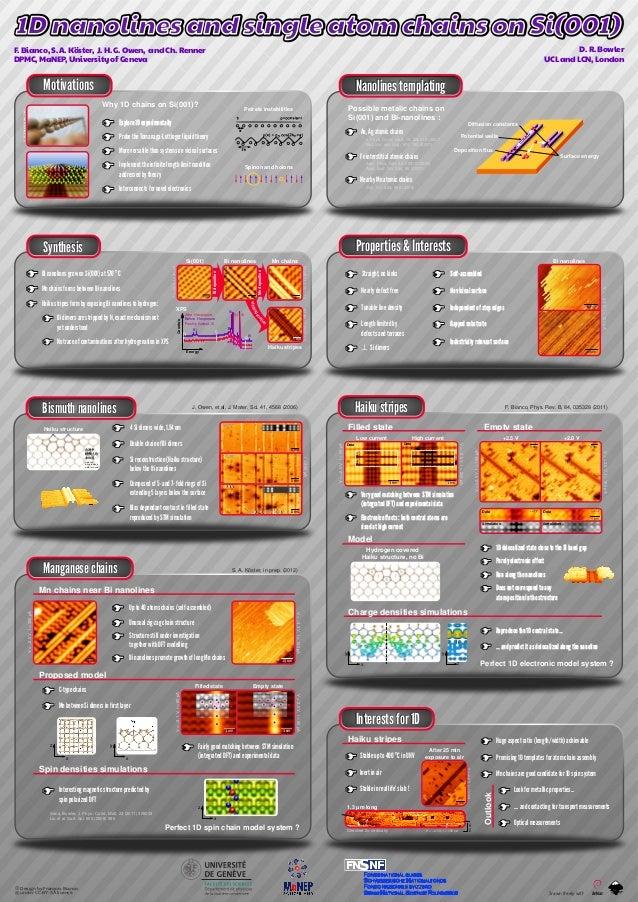 Properties & Interests Motivations Bismuth nanolines Haiku stripes Interests for 1D Nanolines templating Manganese chains ...