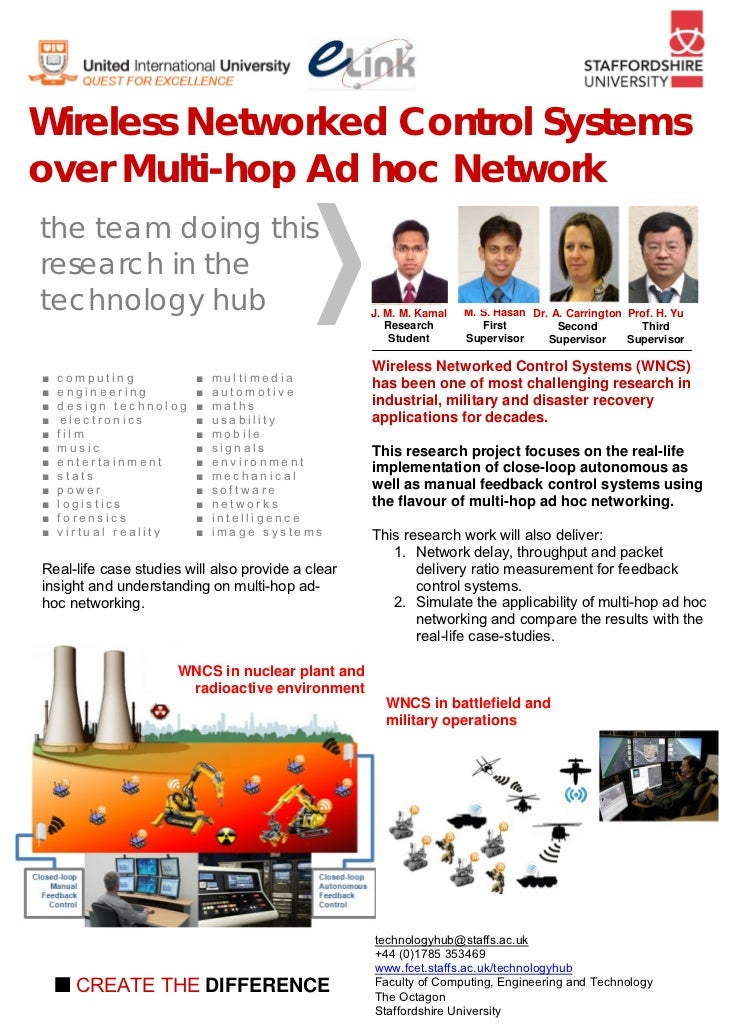 Wireless Networked Control Systemsover Multi-hop Ad hoc Networkthe team doing thisresearch in thetechnology hub           ...